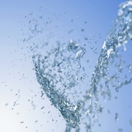 Abstract blurred background with blue water splash.