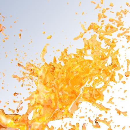 mango fruta: Splash jugosa en blanco