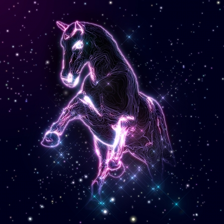 Abstract image of horse with glow strings and stars