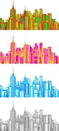 Set illustration of cityscape   Иллюстрация