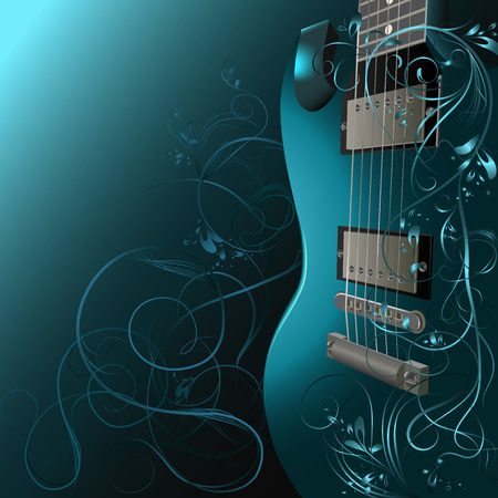 Background with guitar, ornaments and space for text   Иллюстрация