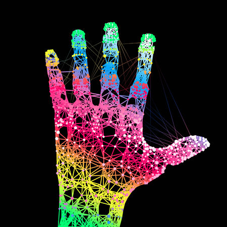 Colors hand up illustration.