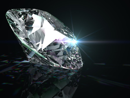 diamante negro: Diamante brillante sobre fondo negro.