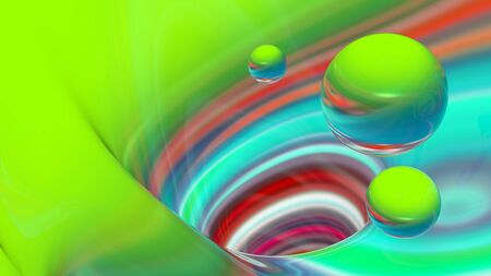 Abstract three-dimensional background, bright lines, waves and spheres.