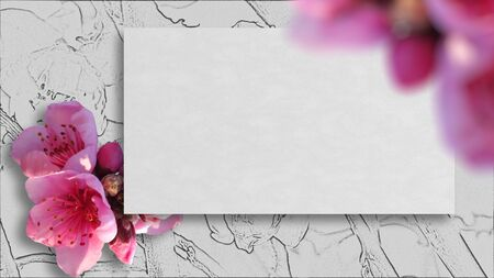 Frame with sakura flowers and empty tag  on floral pattern background. Place for text. Фото со стока - 85480848