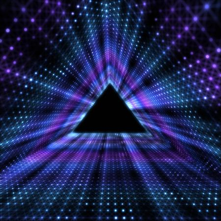 Glowing Triangle Tunnel. Abstracts Futuristic Background.