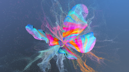 Abstract multi colored background with particles paint at butterfly shape. Фото со стока - 106196698