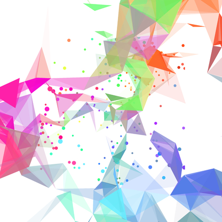 Geometric background of bright colors triangles and particles. Иллюстрация