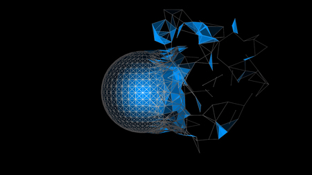 Vector three-dimensional sphere with framework.  Destruction of shape.