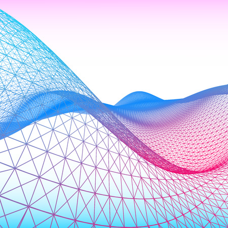 Abstract network of colorful waves.  Abstract futuristic colorful waves background. Vector illustration. Фото со стока - 121528476