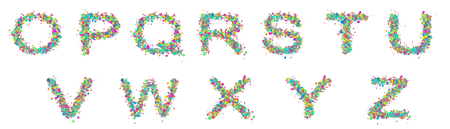 Three-dimensional fun bright letters on a white background. Set of multicolored fun bright letters for inscriptions. Фото со стока