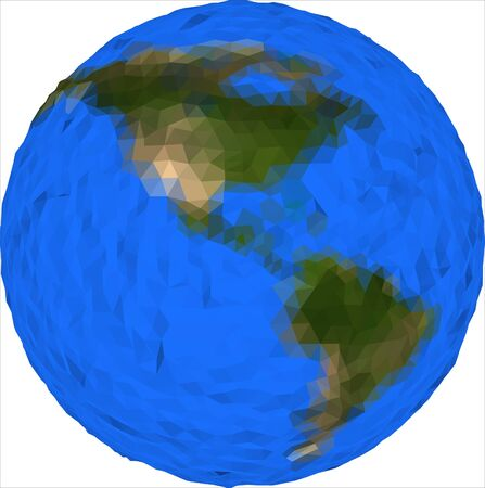 Vector low poly earth globe illustration. America. World planet illustration. Earth low poly design. Isolated globe icon in polygonal style. Earth vector.