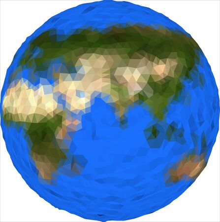 Vector low poly earth globe illustration. Eurasia, Africa, Australia. World planet illustration. Earth low poly design. Isolated globe icon in polygonal style. Earth vector. Фото со стока - 146376146