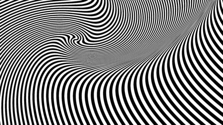 Abstract black and white twisted lines. Geometric design.   Black and white twisted lines. Lines horizontal background. Design, geometric. Monochrome Hypnotic Stripes.