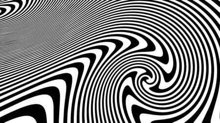 Black and white twisted lines. Lines horizontal background. Design, geometric.  Abstract black and white twisted lines. Geometric design. Monochrome Hypnotic Stripes.