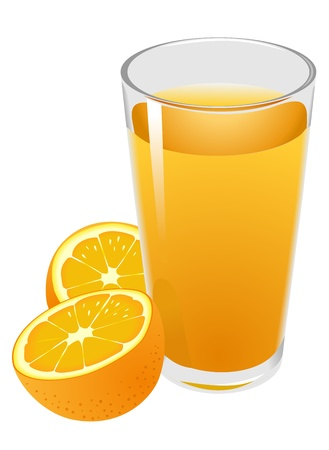Illustration of glass with orange juice and oranges