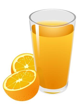orange juice glass: Illustrazione di vetro con succo d'arancia e arance Vettoriali