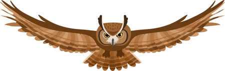 owl symbol: Illustration of brown flying owl