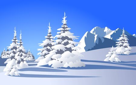 Winter landscape with snowy trees and mountains Stock Vector - 13493241