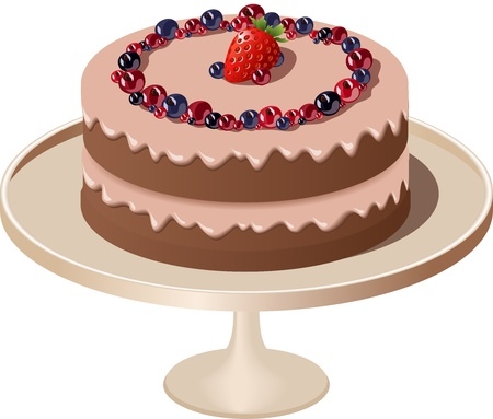 pink cake: illustration of cake with cream and berries Illustration