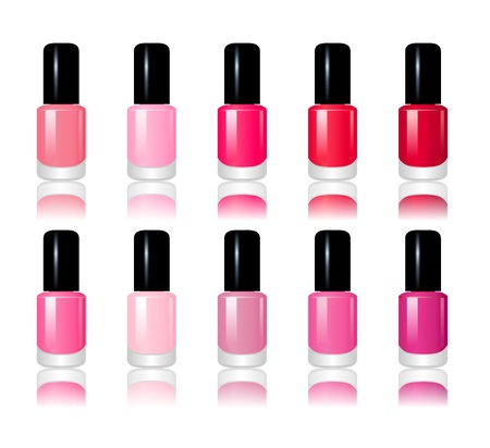 pedicure set: Set of 10 nail polish bottles