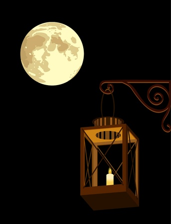 illustration of lantern and full moon in the night Stock Vector - 18225164
