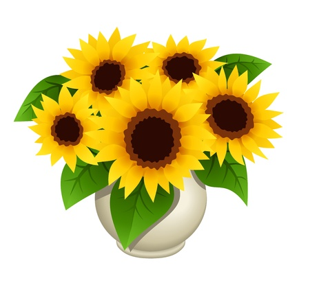 sunflower isolated: Bouquet of sunflowers in vase illustration