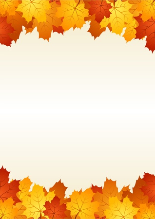 Autumn leaves frame. Vector illustration. Stock Vector - 18259498