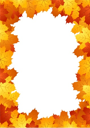 withered: Autumn leaves frame. Vector illustration.