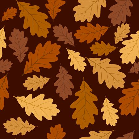 Seamless pattern with autumn oak leaves. Vector illustration. Vector