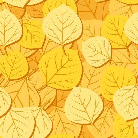 Seamless pattern with autumn aspen leaves illustration