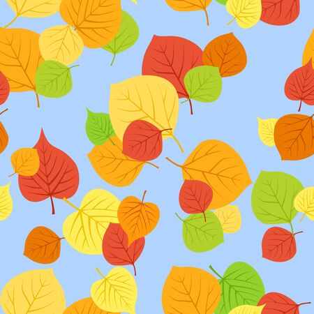 aspen leaf: Seamless pattern with autumn leaves  Vector illustration