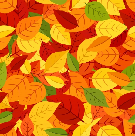 fallen: Seamless pattern with colored autumn leaves  Vector illustration