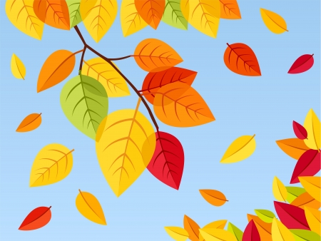 Autumn leaves on a blue sky background  Vector illustration  Stock Vector - 18259443