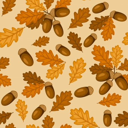 Seamless pattern with autumn oak leaves and acorns illustration Stock Vector - 18259489