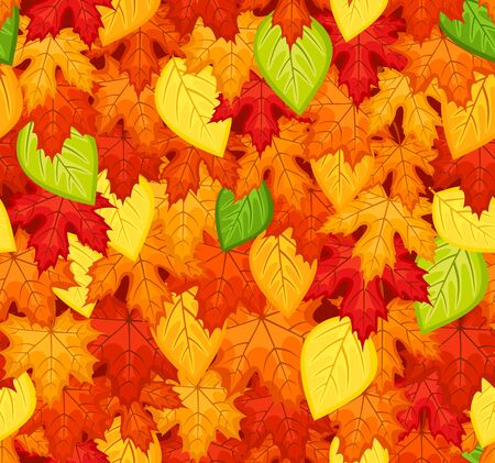 Seamless pattern with colored autumn leaves illustration Stock Vector - 18259515