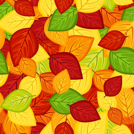 Seamless pattern with colored autumn leaves  Vector illustration Stock Vector - 18259451