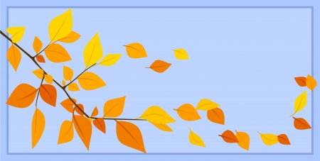 Autumn leaves on a blue background illustration  Stock Vector - 18259369