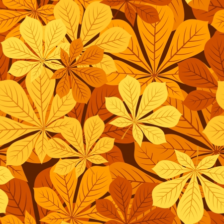 Seamless pattern with autumn chestnut leaves  illustration  Stock Vector - 18259476