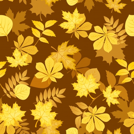 Seamless pattern with yellow autumn leaves  illustration  Stock Vector - 18259486