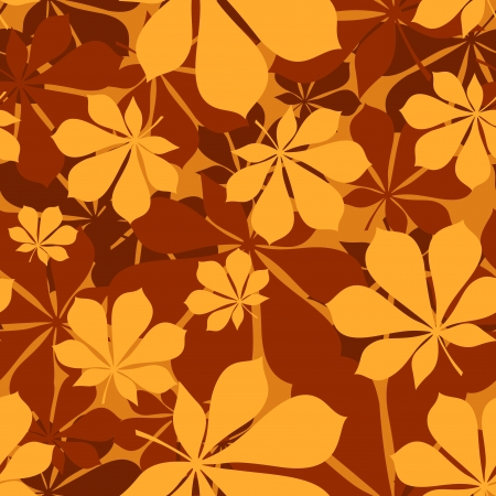 sienna: Seamless pattern with autumn chestnut leaves. Vector illustration.