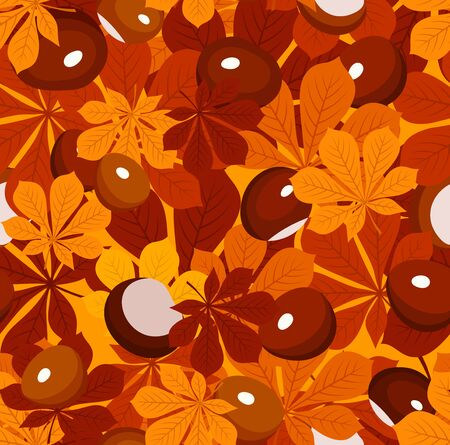 Seamless pattern with autumn chestnut leaves and chestnuts. Vector illustration. Stock Vector - 18259514