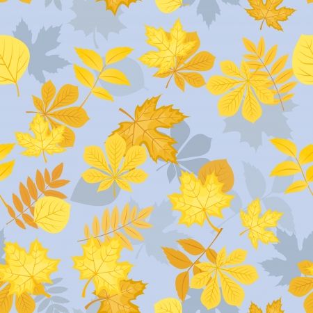Seamless pattern with yellow autumn leaves.