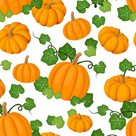 Seamless pattern with orange pumpkins and green leaves. Vector