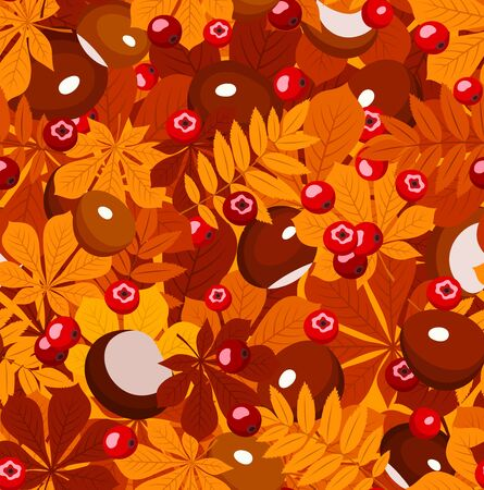 Seamless pattern with autumn leaves, chestnuts and rowan berries. Vector