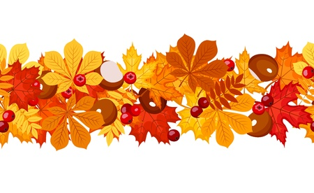 fallen fruit: Horizontal seamless background with autumn leaves.  Illustration