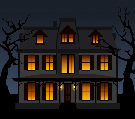 spooky tree: Haunted house in the night.