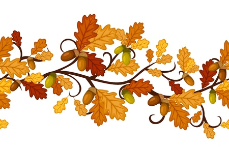 leafage: Horizontal seamless pattern with autumn oak leaves.