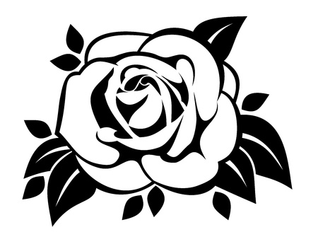 stencil: Black silhouette of rose with leaves.
