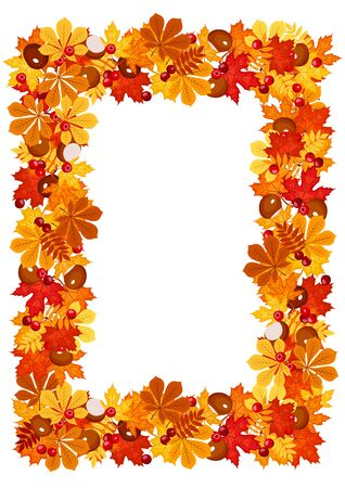 Autumn leaves frame. Stock Vector - 18273360